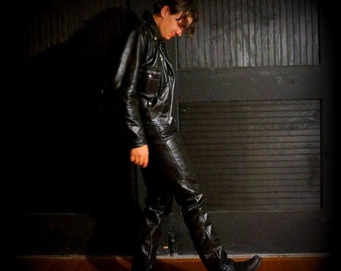 Bates Black Leather Pants 1970s Vintage Custom Moto Racing Trousers 29 X 31 Retro Biker Classic American Motorcycle Riding Gear Handmade USA