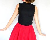 Vintage Dark Red Ruby Swing Mini Skirt. Twee skirt. Black Lace Trim. Tulle. Primary Color. Dance Skirt. Ladybug. Summer Skirt.