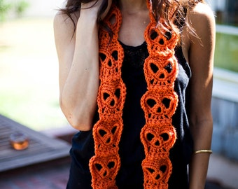 LIMITED Hand Crocheted Classic Orange Skull Scarf