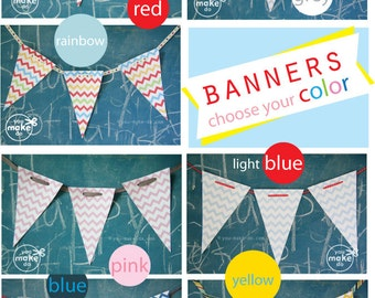 custom birthday banners printables, baby shower banners, 1st birthday banner, first birthday decorations, party printables, chevron party