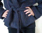 wool jacket , blue hooded cashmere ,  winter jacket by FedRaDD
