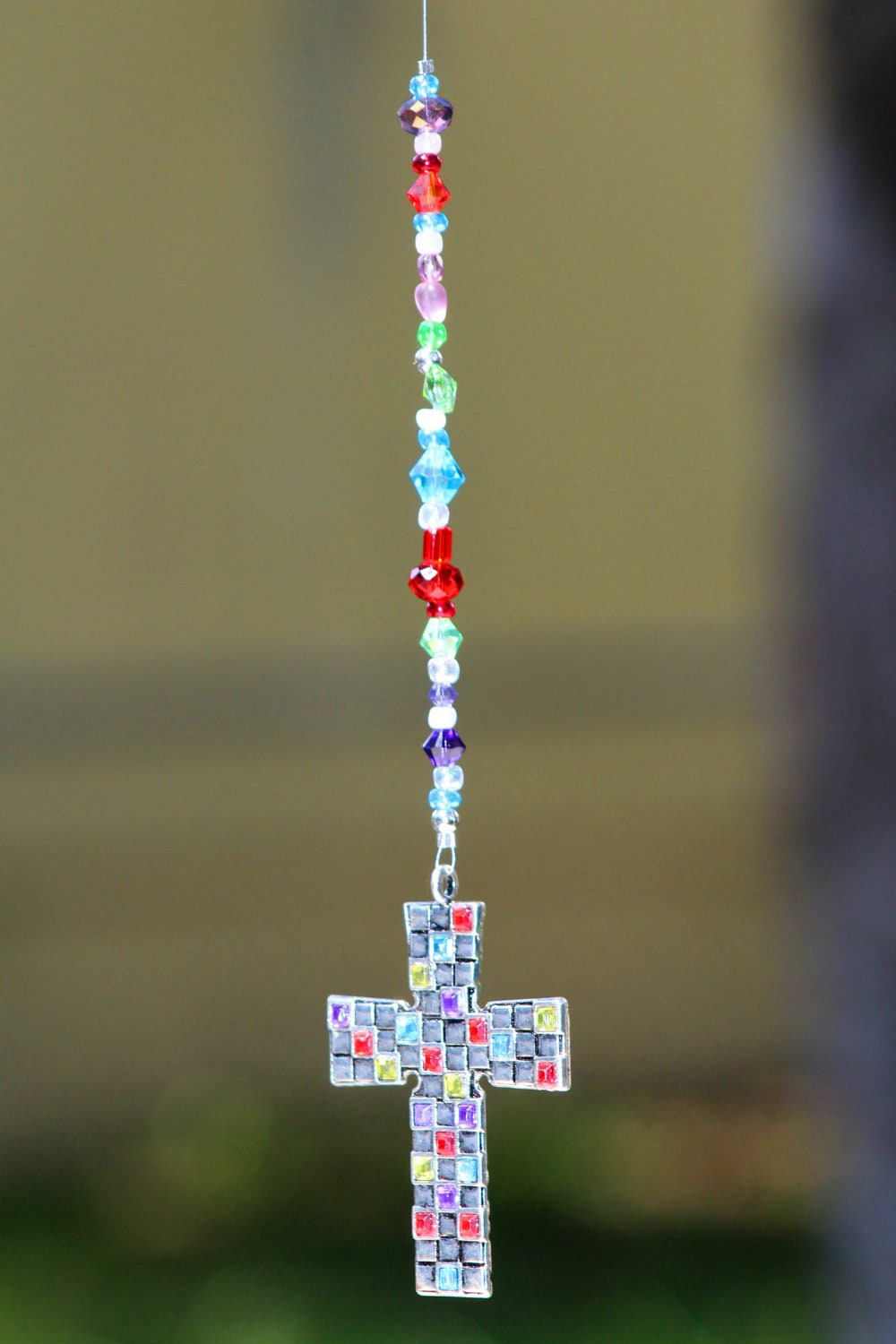 Customize Your Own Car >> Cross Rear View Mirror Hanger Car Charm Jeweled Cross