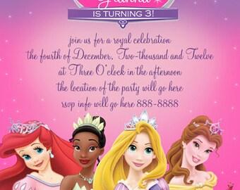 Disney Princess Invitation Digital File 4X6 or 5X7