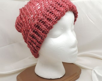 Burgundy Loom Knit Hat in Silk and Merino Blend Yarn