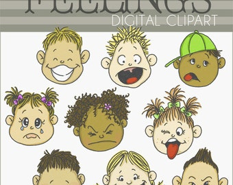 Emotions clip art | Etsy