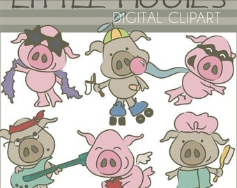 Pigs Clipart Funny Pig Clipart -Personal and Limited Commercial Use- diva pig, rockstar pig, valentine pig, bathing pig, flying pig