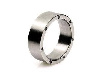Palladium ring, black diamond, wedding band, men wedding band, rings for men, commitment, palladium wedding, black diamond, men unique ring