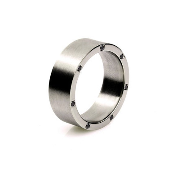 Titanium ring, black diamonds, wedding band, men wedding band, rings