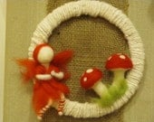 Fairy Wreath (hand-spun alpaca yarn wreath with needle-felted toadstools and a sweet red fairy