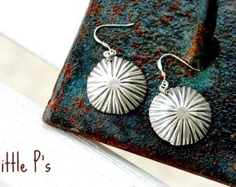Art Jewelry Gift for Her Earthy  Pure Fine Silver Artisan Starburst Earrings