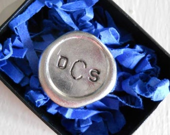 Golf ball marker, Wax seal style,  Hand stamped with the monogram of your choice. Father's day gift....great groomsman gift