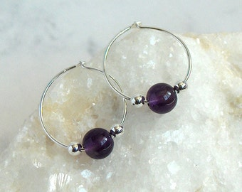 Amethyst Bead Hoop Earrings, Sterling Silver Beads, Sterling Silver Hoops - 18mm Hoop (approx 3/4 inch)