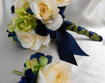 Wedding Bridal Bouquet Your Colors 2 pieces Navy Blue Green Ivory Rose Hydrangea with Boutonniere Centerpiece Accessories FREE SHIPPING