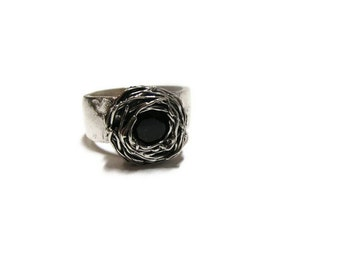 SALE-50% OFF-Metal Clay Silver Statement Ring with Black Spinel