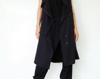 NO.67 Black Cotton-Blend Jersey Front-Effect Tunic Top, Draped-Front Vest, Women's Tunic Dress