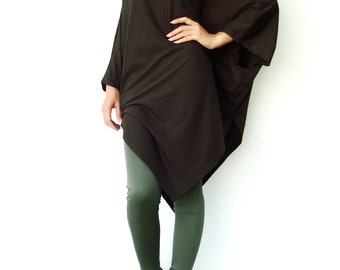 NO.63 Charcoal Cotton Jersey  Asymmetrical Tunic Top