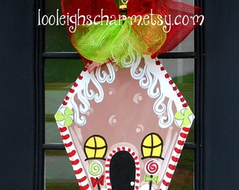 Christmas Door Hanger, Gingerbread House Decor, Christmas Decor, Holiday Wreath, Gingerbread Wreath, Christmas Wreath