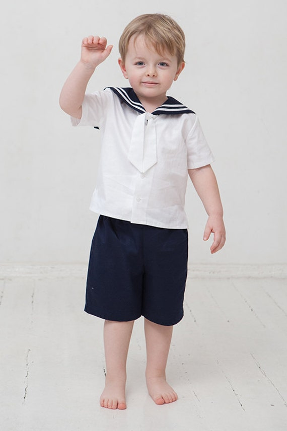 Baby Boy Sailor Suit Boy Baptism Linen Outfit Nautical By