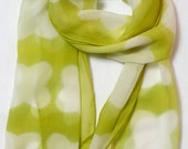 Summer Silk Scarf in Neon Lime Floral Scarf. Beach Vacation Scarf. Hand Dyed Shibori Scarf.