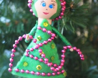 Custom Christmas Tree Girl Ornament. Christmas Ornament. Clothespin Doll. Unique Ornament.