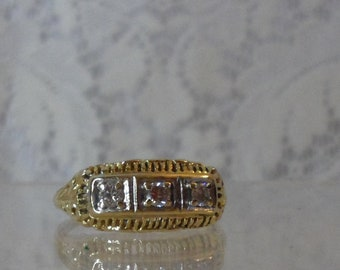 Gold Filigree and  Diamond Ring Basket Design Three Diamonds Reproduction of Victorian  Ring
