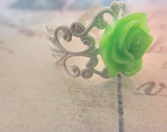 Vintage Look White Filigree and Green Rose Adjustable Ring