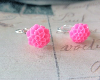 Girls Hot Pink Mum Clip on Earrings