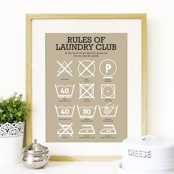 affiche art club de cuisine buanderie blanchisserie symboles. Black Bedroom Furniture Sets. Home Design Ideas