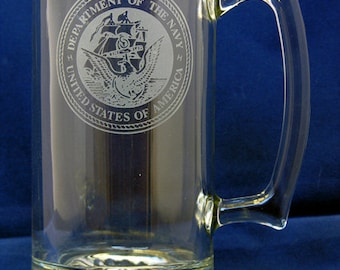 United States Navy Hand-Etched 26.5 Oz. Beer Mug