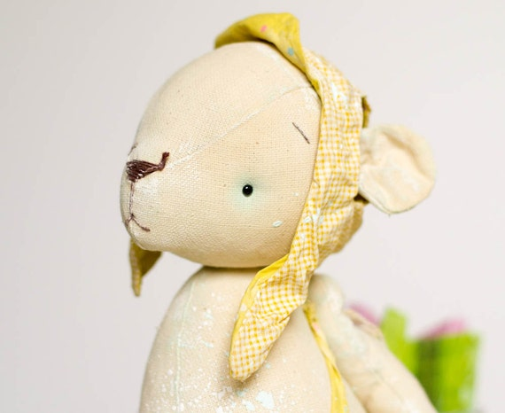 Cotton Stuffed Bear Toy - Yellow Ear - Dreams of Flying - Friendship and Sweetnees