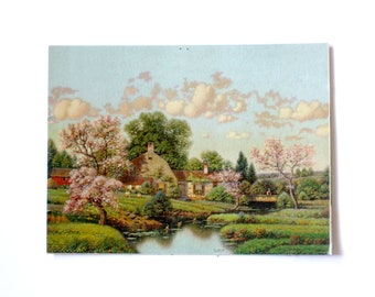 Vintage 1940s Lithograph - Country Cottage in Springtime