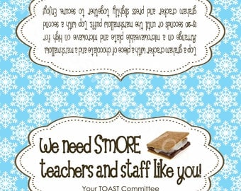 Teacher Gift Label/Tag- Easy Thank You, S'mores Package