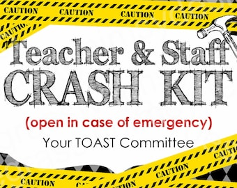Teacher and Staff Crash Kit - Break In Case of Emergency, Gift Label/Tag