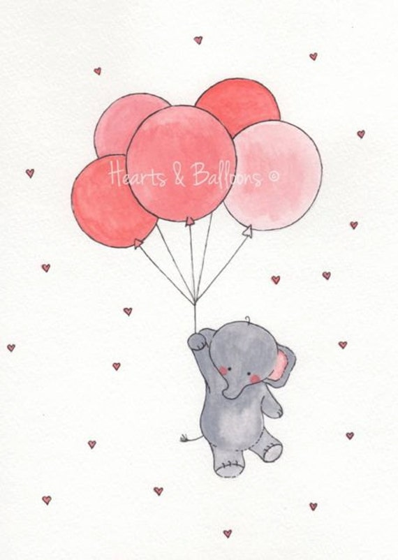 Love Balloon With cartoon Wallpaper : Items similar to childrens art Elephant Balloons watercolour painting PRINT 8x10 Up up and ...