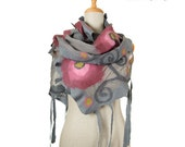 SALE!  nuno felted wrap scarf, gray and roses - silk and wool nunofelted exclusive scarf, felted wearable shawl, felted eco wool scarf