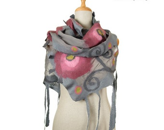 SALE!!!  nuno felted wrap scarf, gray and roses - silk and wool nunofelted exclusive scarf, felted wearable shawl, felted eco wool scarf