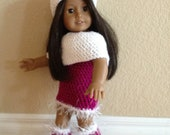 Crochet Sparkly Winter Outfit, Fits American Girl Doll 18""