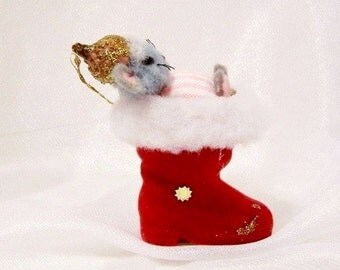 Vintage Christmas Ornament: Miss Mouse in Santa Boot - S1008