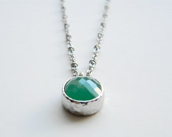 """Silver Necklace - Stone Necklace - Long Necklace - 24"""" - Matte Silver Chain with Green Jade Glass Stone Pendant"""