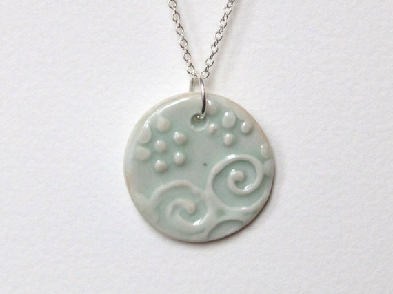Porcelain Ceramic Round Pendant Necklace with Slip Trailed Design in Light Green Glaze OOAK, Black Friday Etsy, Cyber Monday