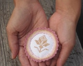 Textile pin, cross stitch hand-embroidered and crochet brooch, Valentine's Day, for her, handmade, unique, flower, girlfriend gift