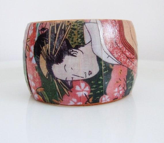 Wood Geisha Bangle Decoupage