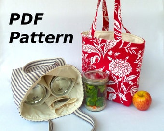 Zero Waste Mason jar carrier bag PATTERN - Jars to Go Bag instant download DIY mason jar lunch bag PDF - now in quart, pint and half-pint