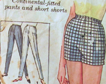 Simplicity 5411 Pants in 2 Lengths and Shorts - Sewing Pattern - Size 10 - Vintage 1964