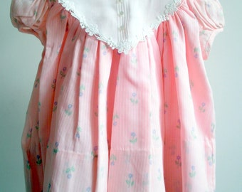 Vintage Girls Pink dress with Purple Flowers and white collar- sizes 12 and 18 months-  new, never worn