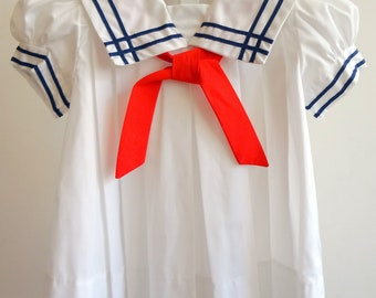 Vintage Classic White Sailor Dress with Split Collar and  Pleats -  Multiple Sizes- New, never worn