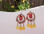 Light Dancer Earrings - Vintage Brass Stampings with faceted carnelian & yellow jade - Bohemian Handmade and OOAK