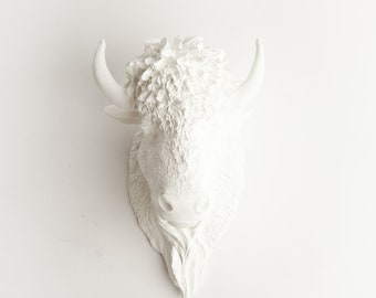 White Bison Head, The Mellby By White Faux Taxidermy, Resin Bison Art Animal Head Wall Mount - Buffalo Rustic Western Decor