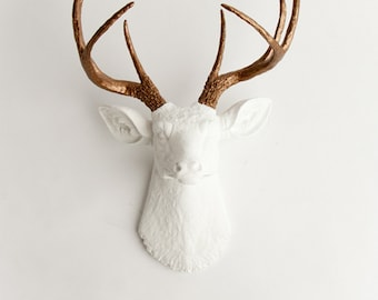 Faux Taxidermy Deer Head Wall Mount, The Lydia White With Bronze Antlers by White Faux Taxidermy, Resin Wall Hanging Stag Decor