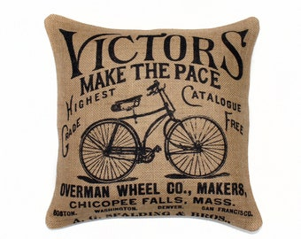 """Bicycle Pillow, Bike Cushion, Decorative Throw Pillow, Burlap, Black, Beige, Wright Brothers 16"""""""